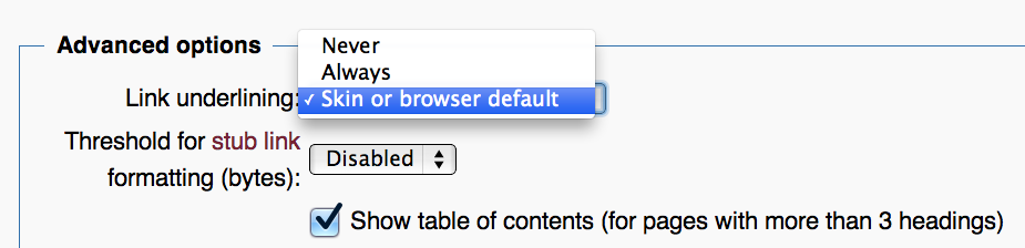 MediaWiki link underlining user preference.png