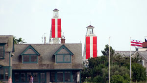 Range Lights in Nantucket, Massachusetts, indicating the observer is left of the desired channel - Lighthouse