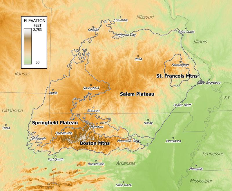 Ozarks Map Fileozarkreliefjpg