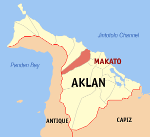 Map of Aklan showing the location of Makato