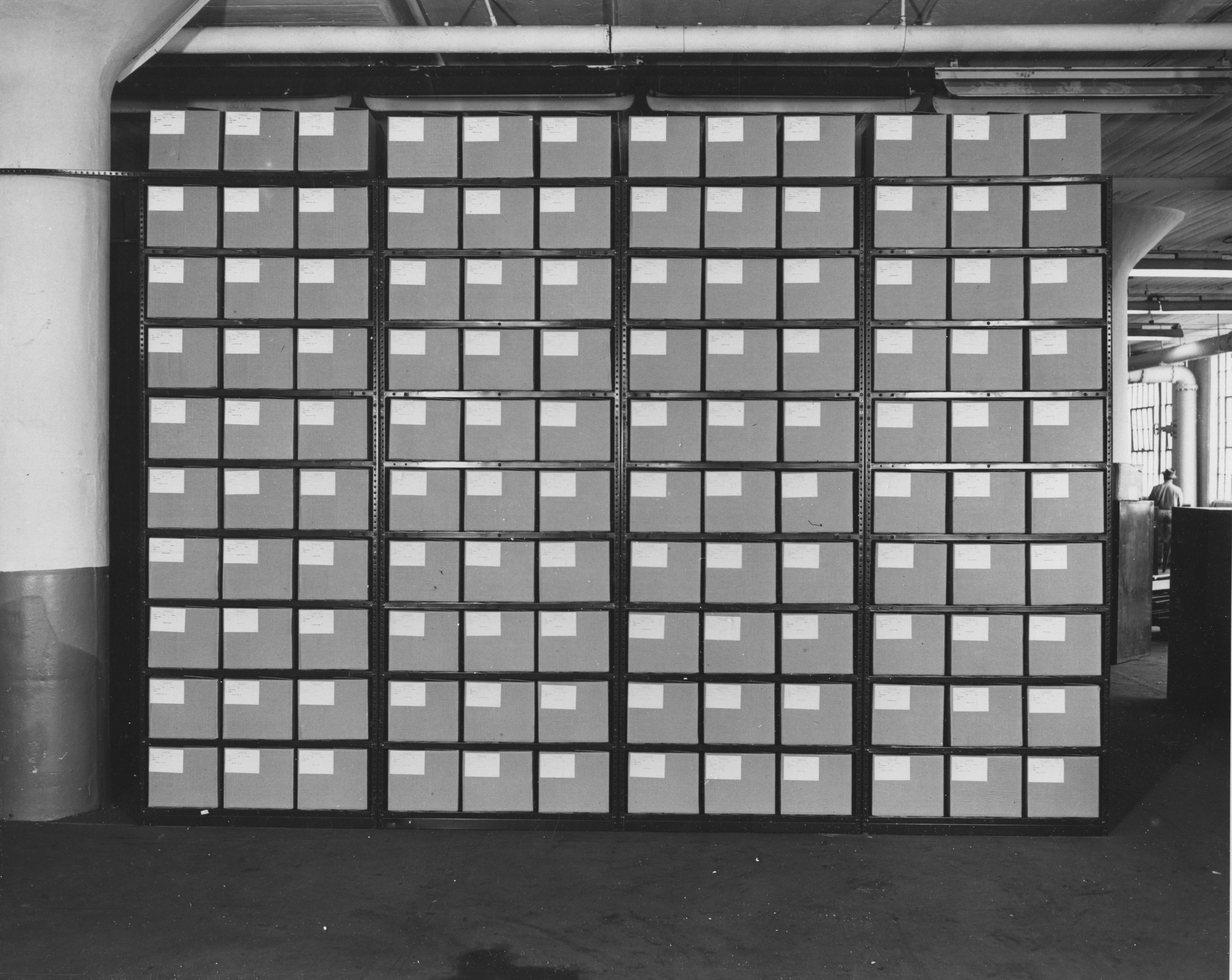 file photograph of steel shelving and records at federal records