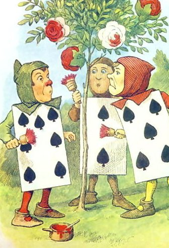 Three cards painting the white rose tree red to cover it up from the Queen of Hearts. A red rose symbolised the English House of Lancaster, a white rose their rival House of York. PlayingCards Rosebush.jpg