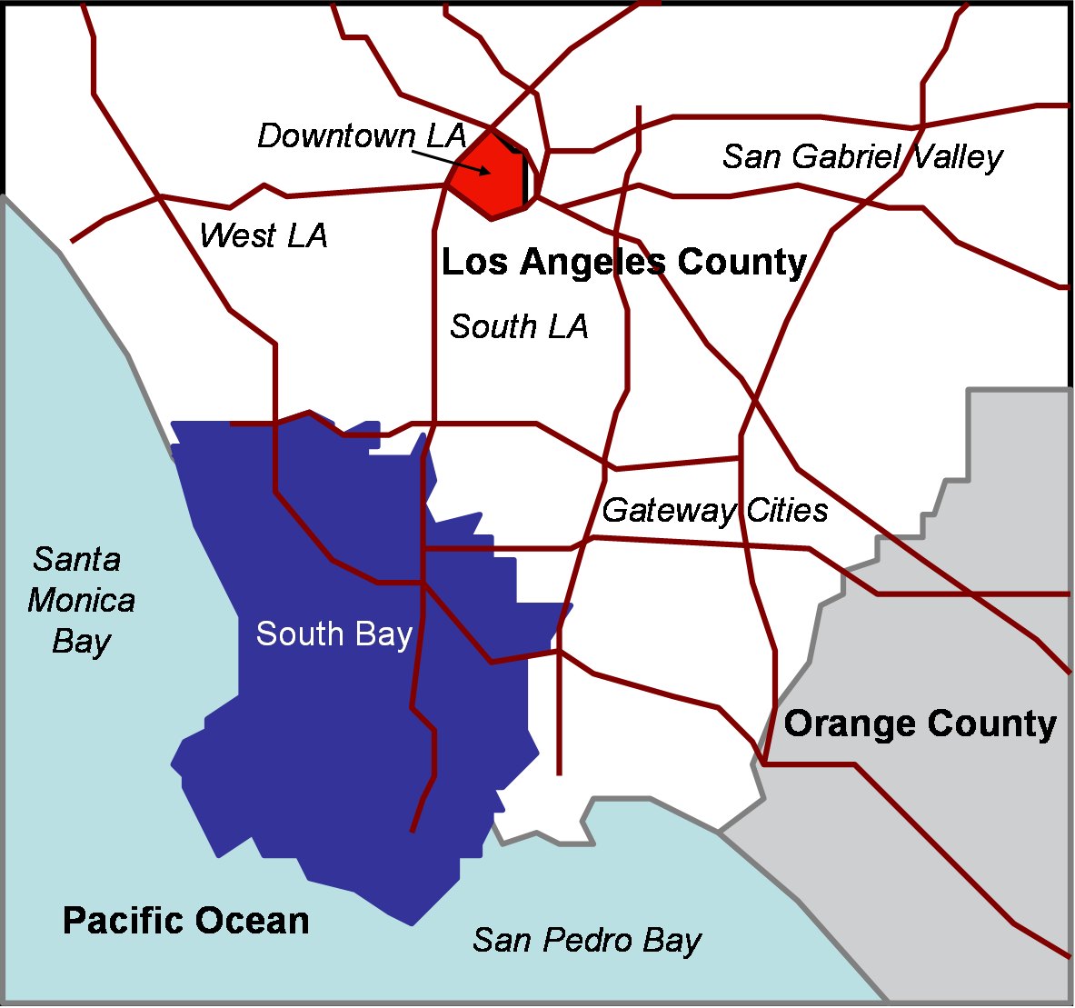 South Bay (Los Angeles County) - Wikipedia on northern virginia counties map, southern california tsunami risk, all of california cities map, southern california bro style, sacramento counties map, united states counties map, southern california county and cities, printable california state parks map, bay area counties map, texas southern zip code map, southern california watersheds, southern california memes, co counties map, ks counties map, southern california state parks, al counties map, southern california topographic maps, portland area counties map, calif counties map, northern california map,