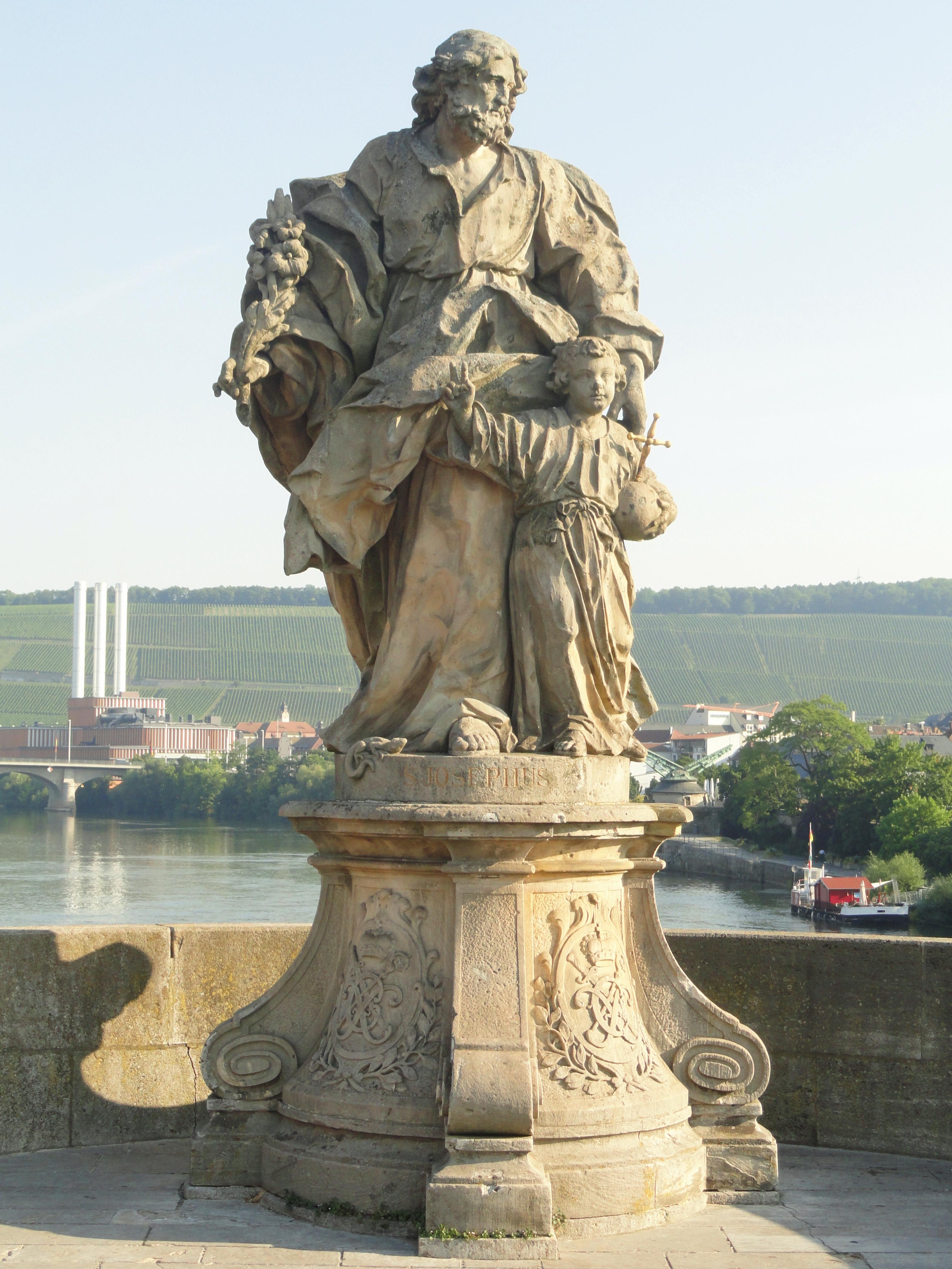 File Statue Of Saint Joseph Alte Mainbr Cke W Rzburg