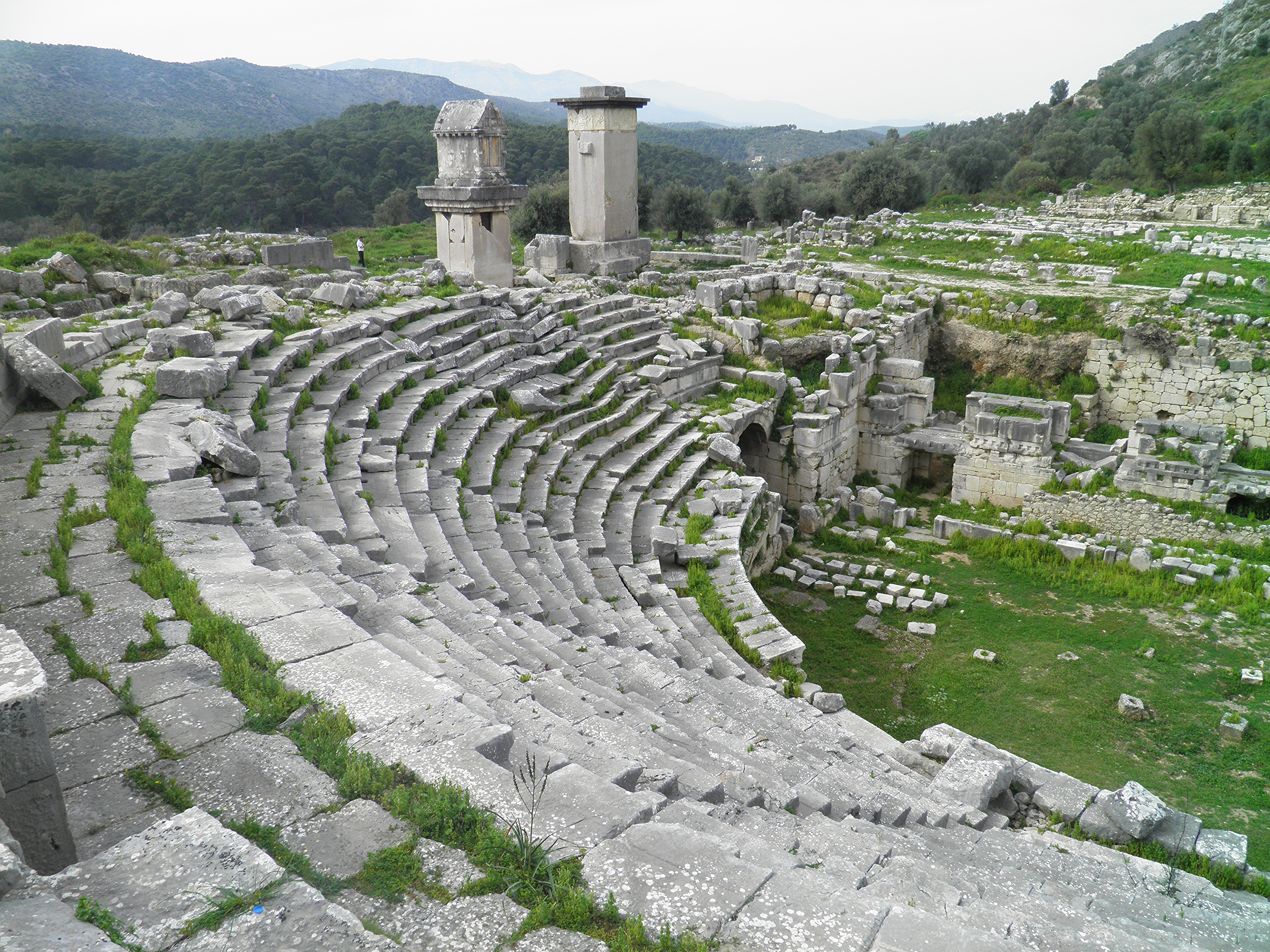 File:The Roman theatre and monumental Lycian tombs, Xanthos, Lycia, Turkey (8...