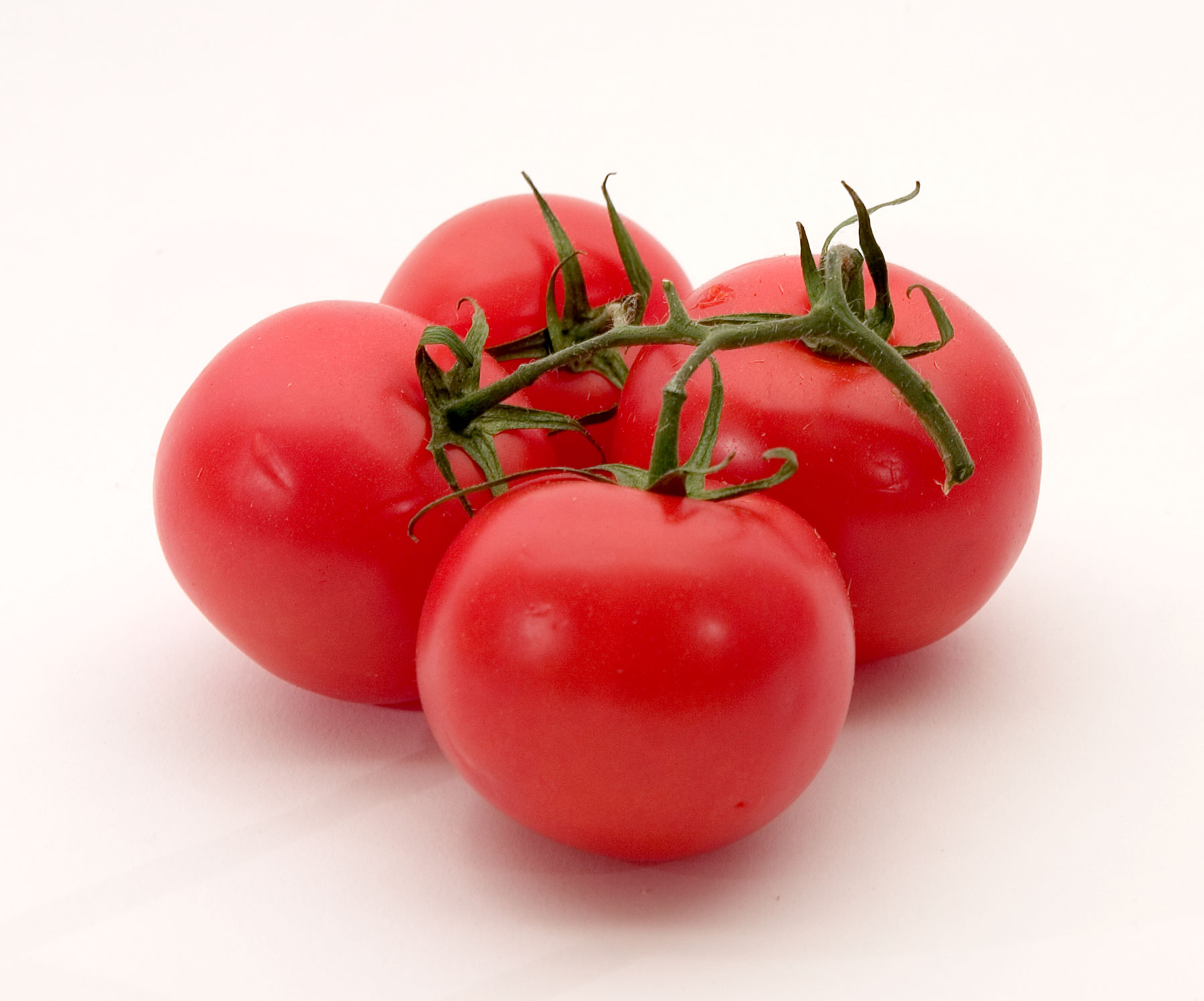 A cluster of red tomatoes