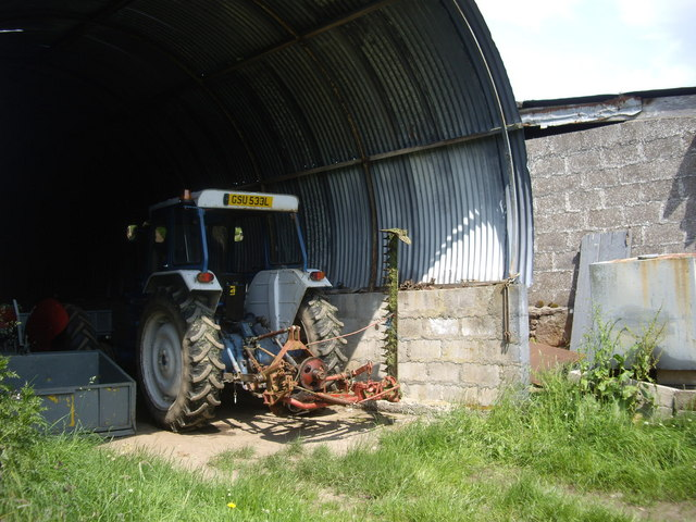File:Tractor with grass-cutter at Clachanshiels - geograph.org.uk -