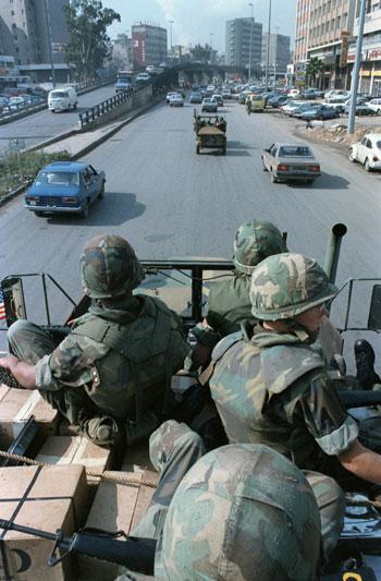 U.S. Marines on patrol in Beirut, April 1983
