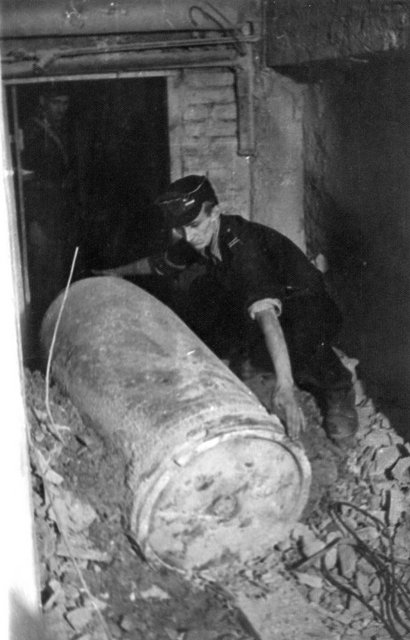 A dud shell fired during the Warsaw Uprising Warsaw Uprising by Joachimczyk - Dud in Adria - 459.jpg