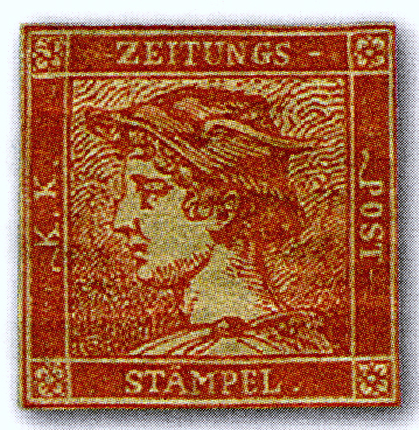 The Red Mercury, a rare 1856 newspaper stamp of Austria. Zinnoberroter Merkur.jpg