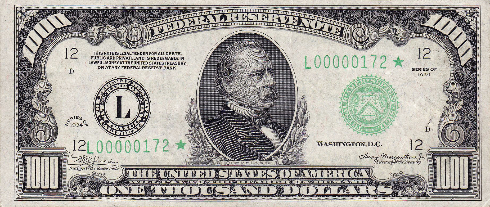 File:1000 USD note; series of 1934; obverse.jpg