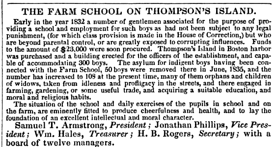 Farm School, Thompson's Island, 1838 1838 FarmSchool ThompsonIsland BostonAlmanac.png