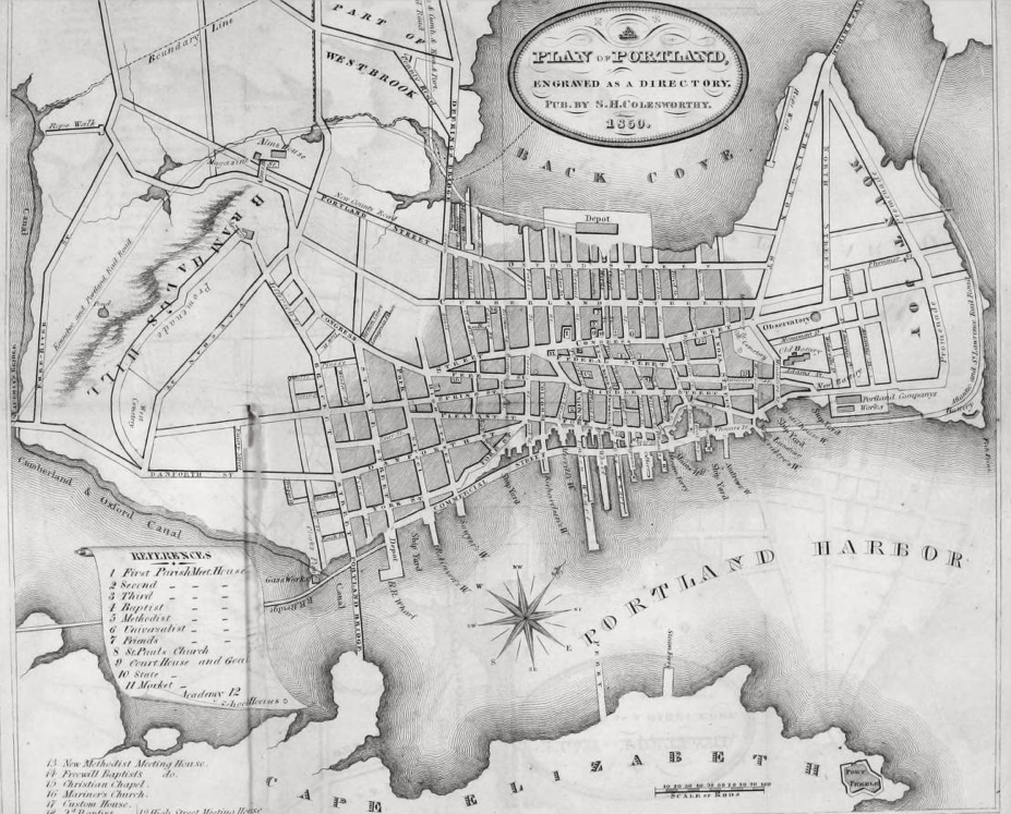 File:1850 map Portland Maine USA by Colesworthy.png - Wikimedia Commons