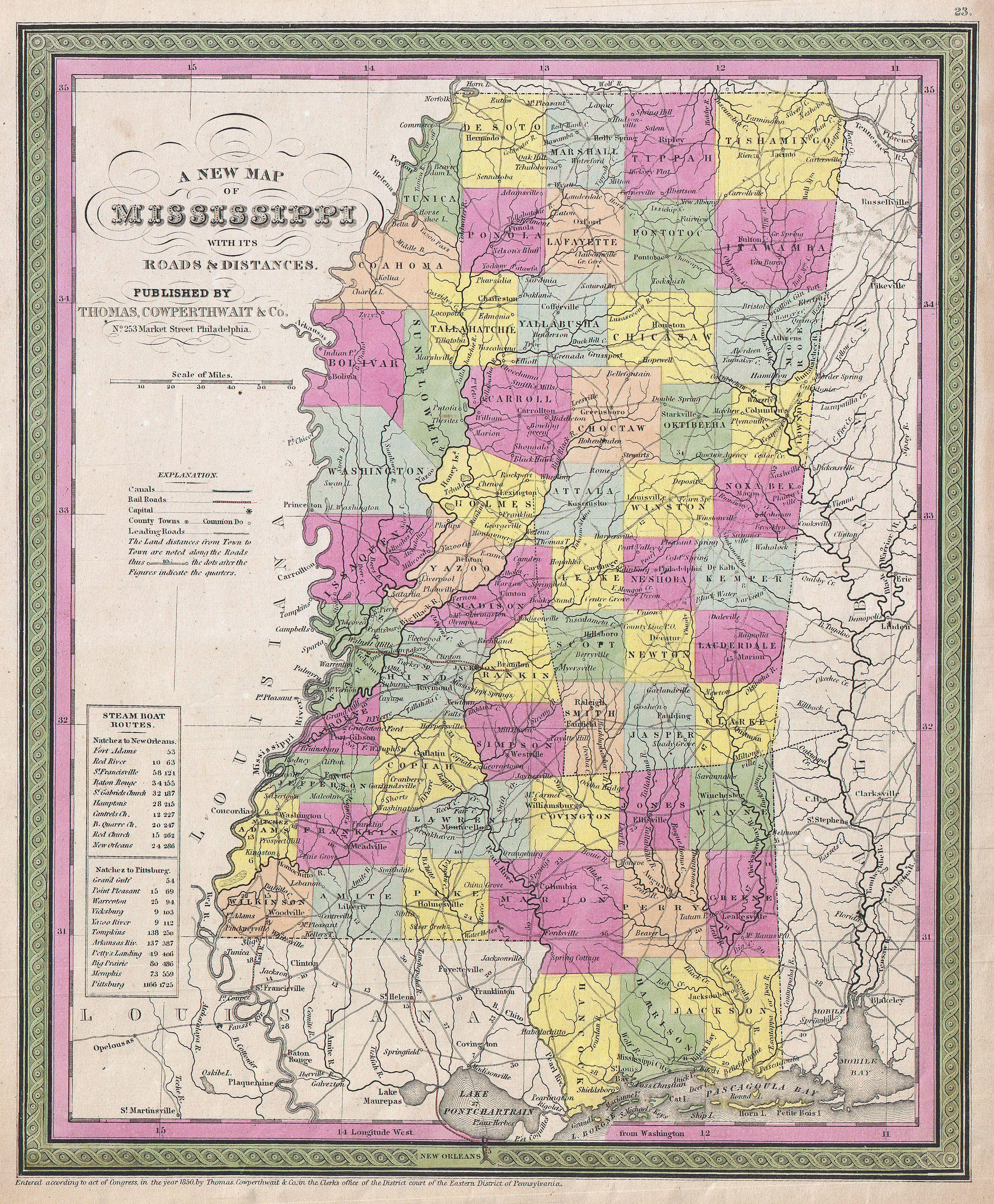 File Mitchell Map Of Mississippi Geographicus MSmitchell - Map ms