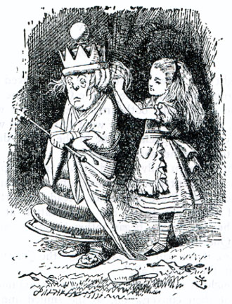 "John Tenniel's drawing of Alice A-dressing the White Queen, in ""Through the Looking Glass"" 1865 - Wikimedia image"