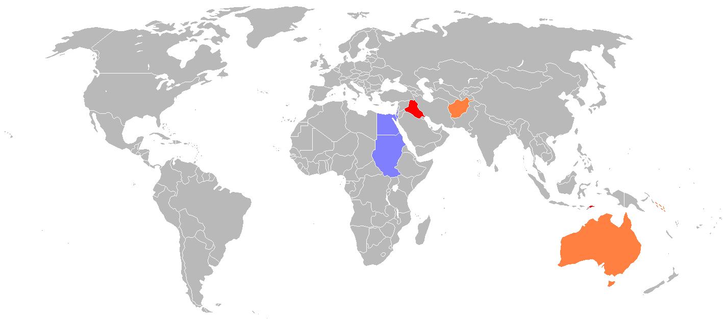 Die kaart toon aan waar troepe van die Australiese Verdedigingsmag ontplooi is (soos in 2007). Rooi: 1000 personeellede of meer. Oranje: Tussen 100 en 1000 personeellede. Blou: minder as 100 personeellede