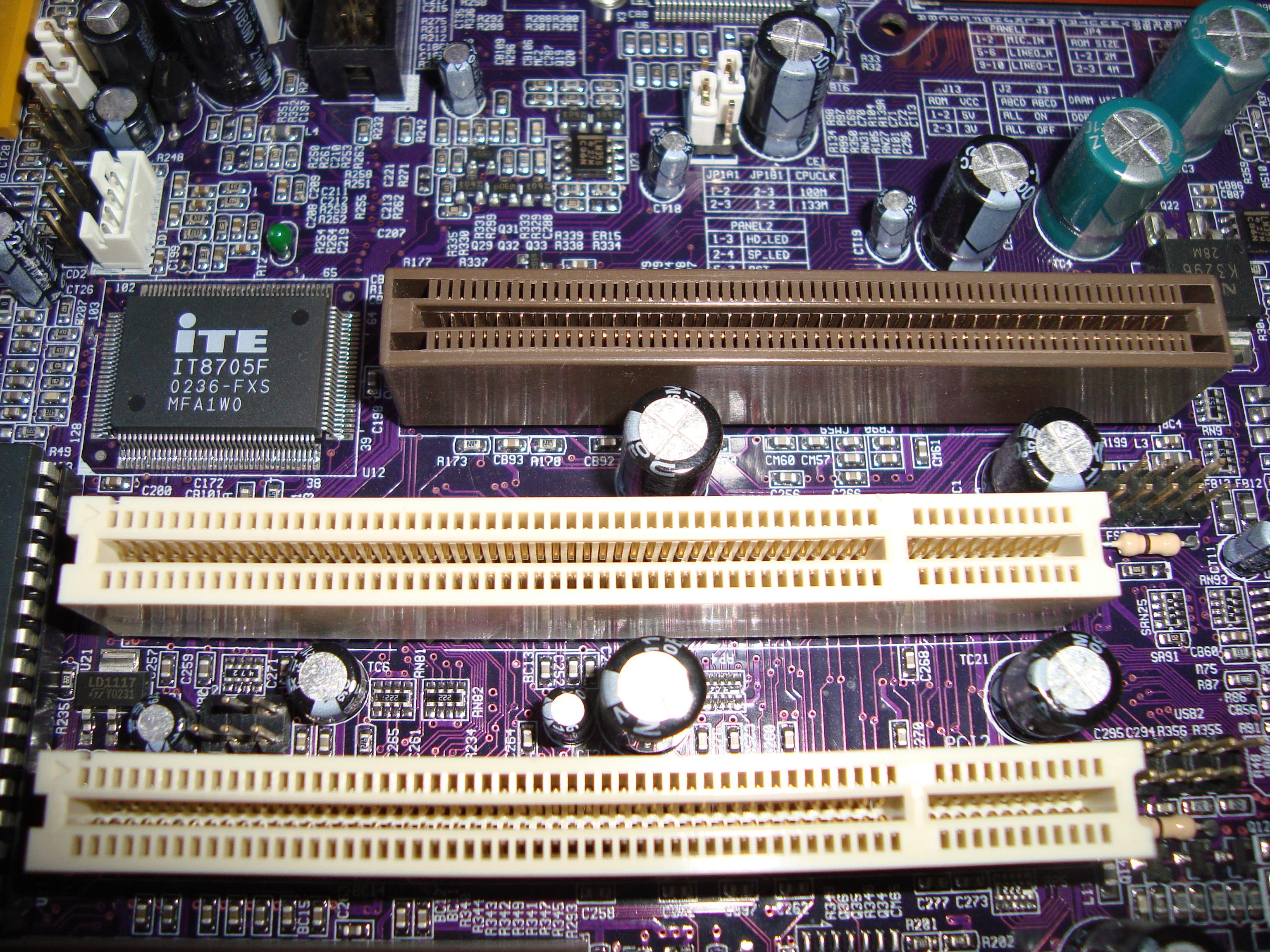 File:AGP and PCI slots at ECS P4VMM2 motherboard JPG