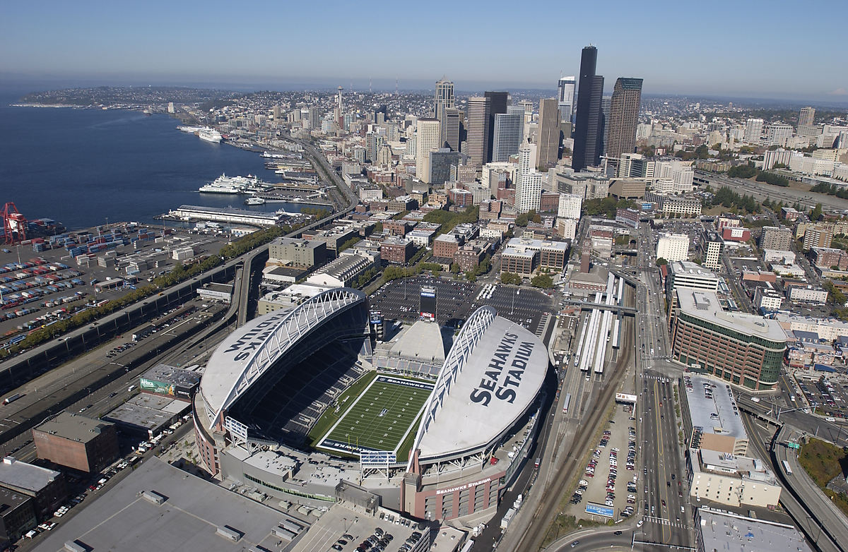 The stadium from the air on a clear day. SEAHAWKS STADIUM is painted on the
