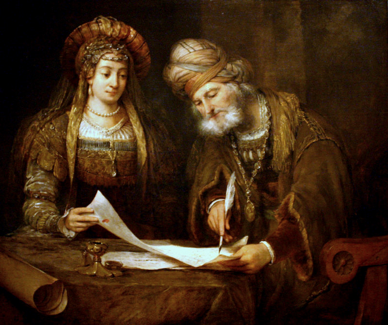 Aert de Gelder - Esther y Mardoqueo escribiendo la primera carta del Purim.jpg