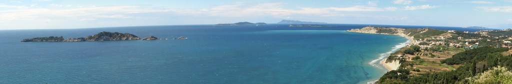 Panoramic view of Arillas and the Diapontia islands