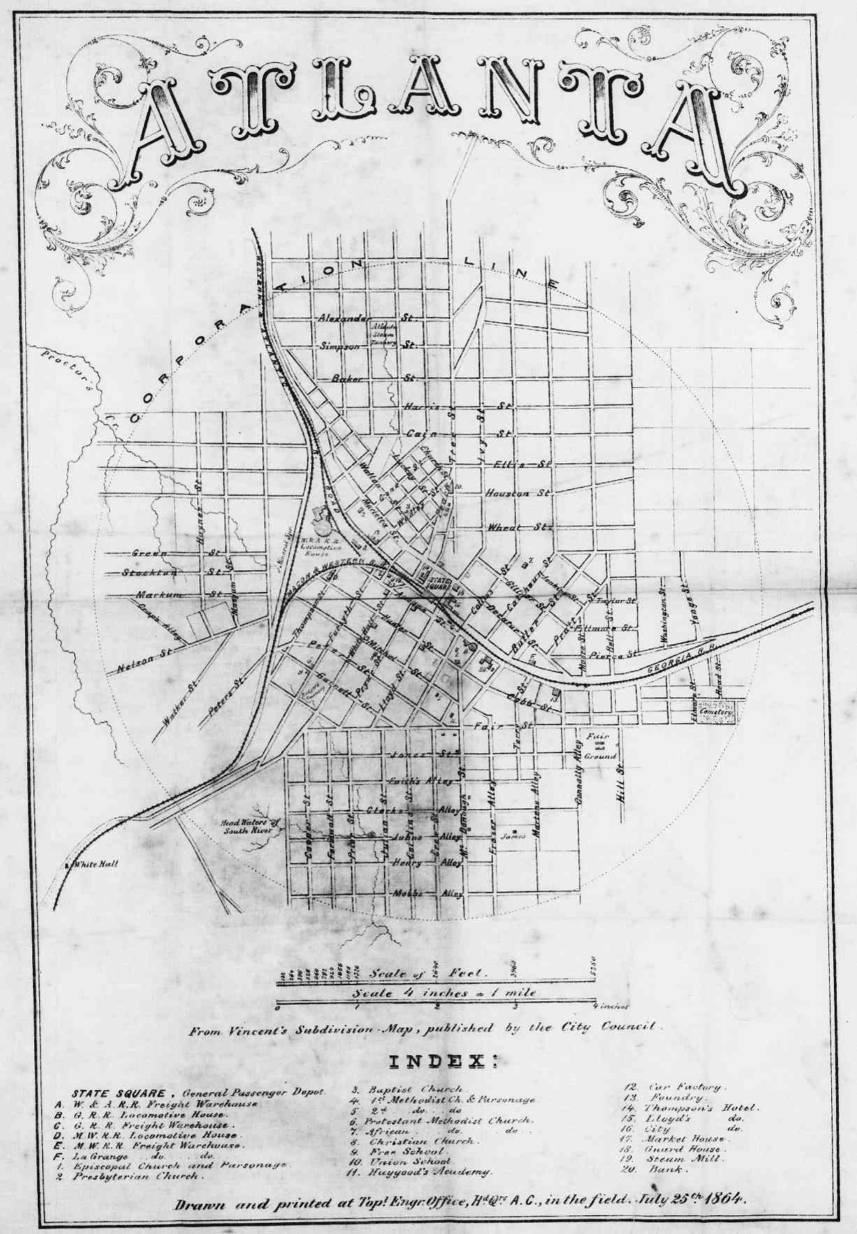 File Atlanta From Vincent S Subdivision Map Army Of The Cumberland 1864 Jpg Atlanta Map Map Sketch Historical Maps