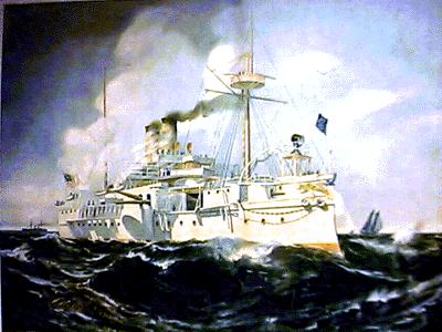 Lukisan Kapal USS Maine karya Frederick Nelson Atwood