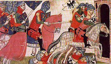 Darstellung der Schlacht von Benevent in der Nuova Cronica des Giovanni Villani, 14. Jahrhundert.