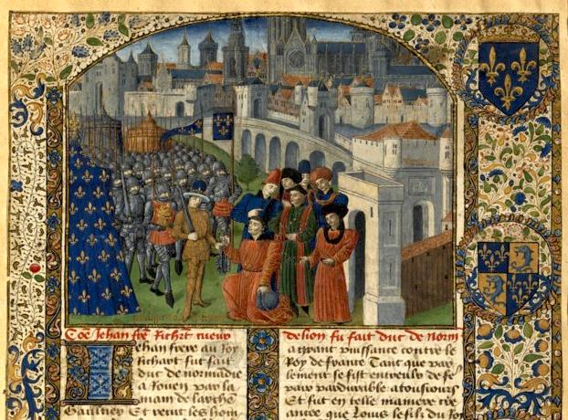 BnF Français 2623 Chronique de Normandie Fol. 106bis - Reddition de Rouen (1204).jpg
