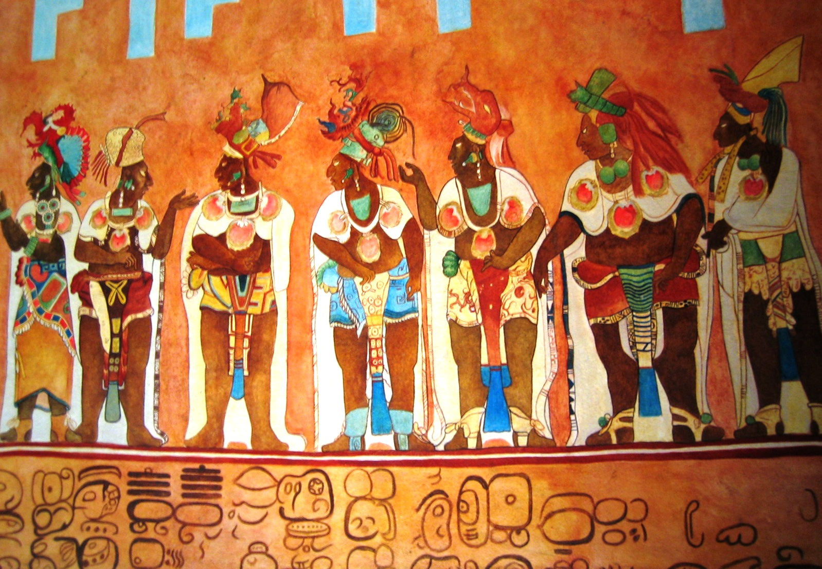 Example reproduction of a section of the Bonampak Murals as commissioned by Professor Mary Miller and completed by artists Heather Hurst and Leonard Ashby of the Bonampak Documentation Project. The infrared images captured by this project revealed portions of the murals that were not visible to the naked eye due to erosion or otherwise destroyed by previously botched restoration attempts. In this way, Hurst and Ashby were able to create very detailed reproductions.