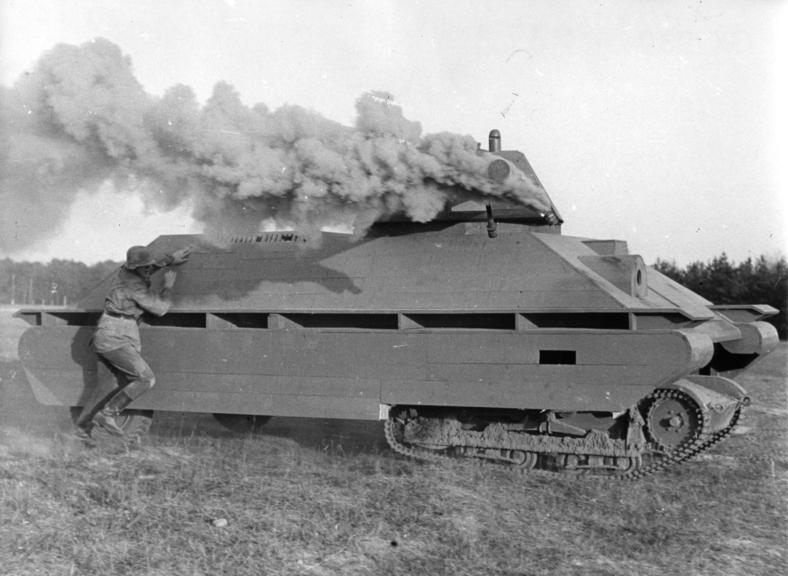 A German mock-up of a T-34 tank used for training