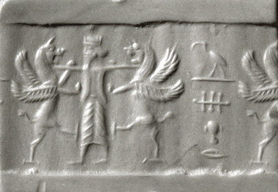 "Modern impression of an Achaemenid cylinder seal from Iran, with king holding two lion griffins at bay and Egyptian hieroglyphs reading ""Thoth is a protection over me"". Circa 6th-5th century BC. Cylinder seal and modern impression king holding two lion griffins at bay and Egyptian hieroglyphs ca. 6th-5th century BC.jpg"