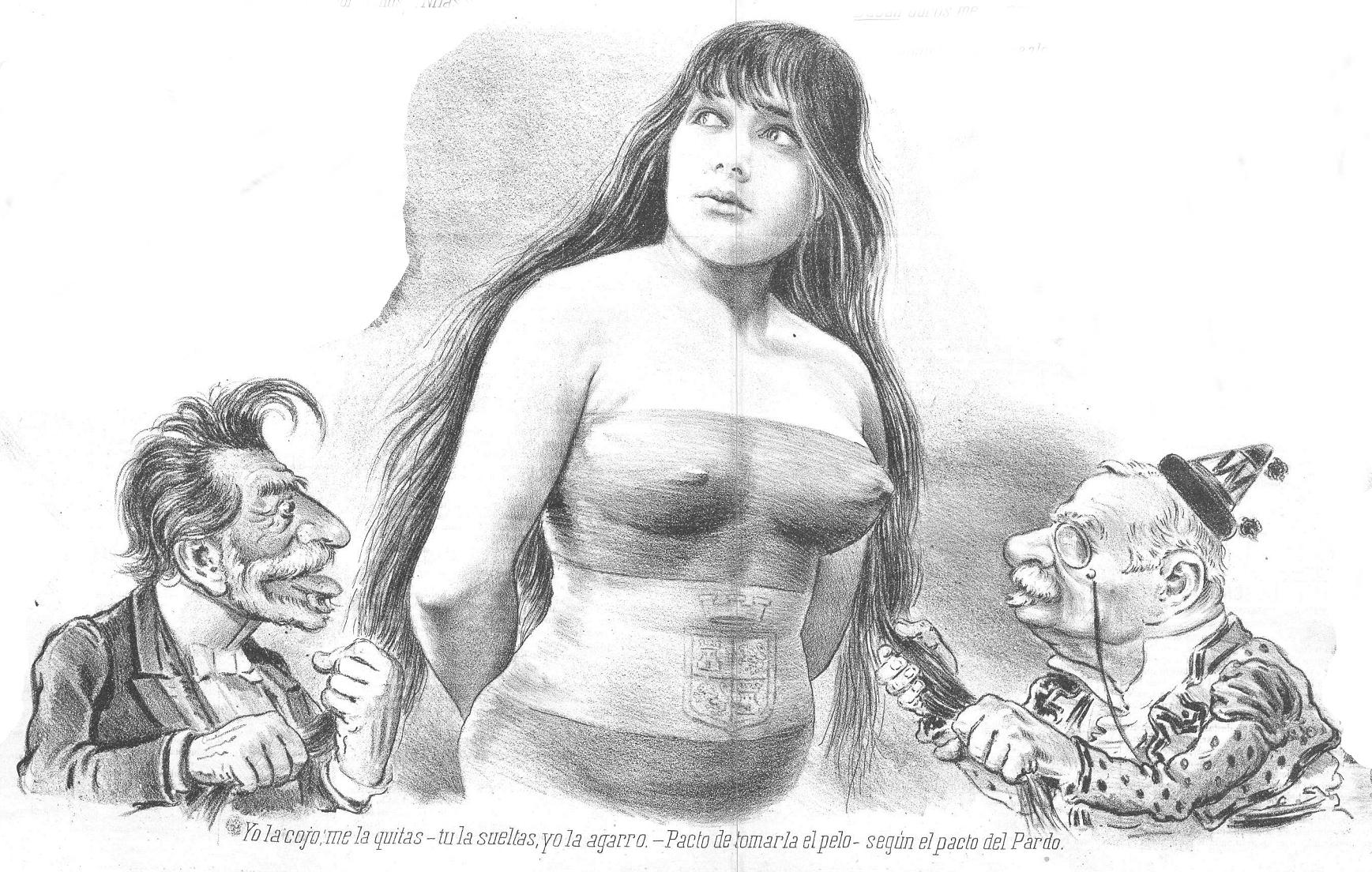 Caricatura de Sagasta y Cánovas