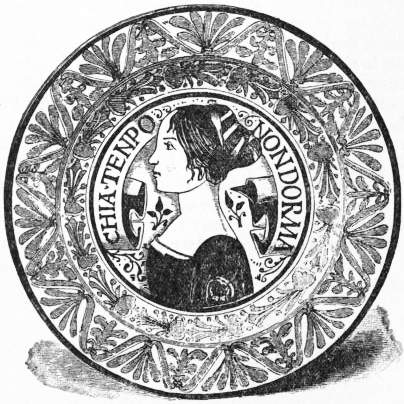 EB1911 Ceramics Fig. 47.—Gubbio plate, with portrait in ruby lustre and blue outline.jpg