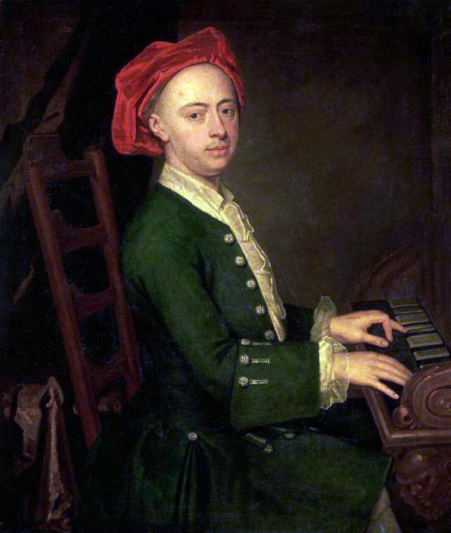 Händel hacia 1720 tocando el clave.