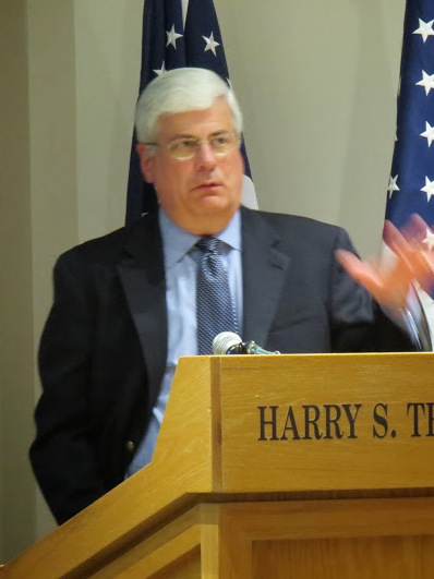 Greene speaking at the Harry S. Truman Library, 2014