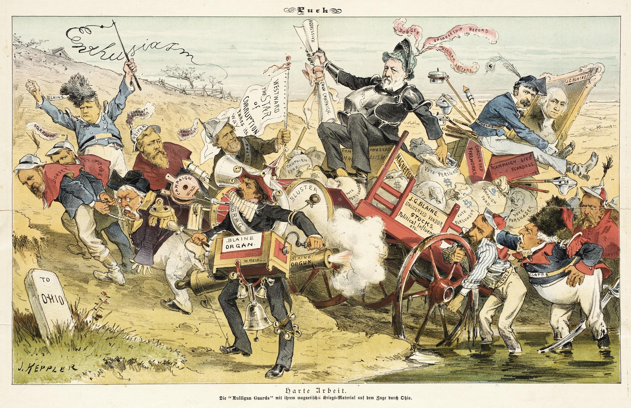 Harte Arbeit, Karikatur von James Blaine, Quelle: WikiCommons, Details Artikelende