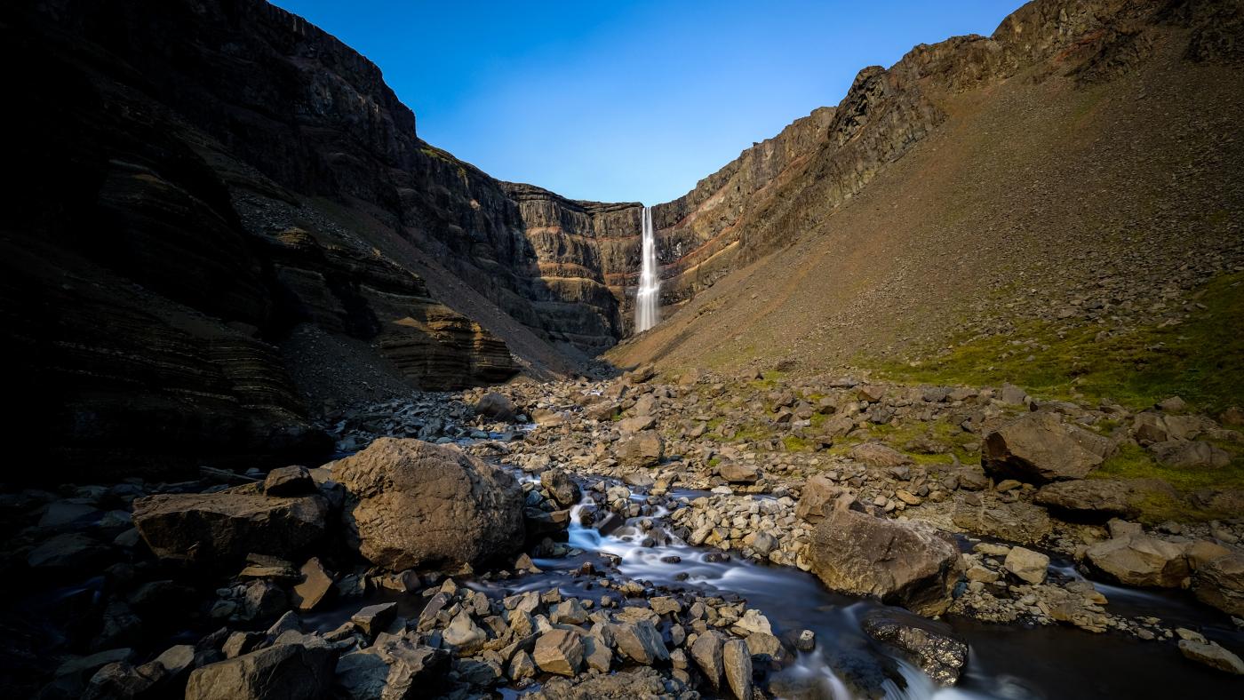 The Hengifoss Waterfall