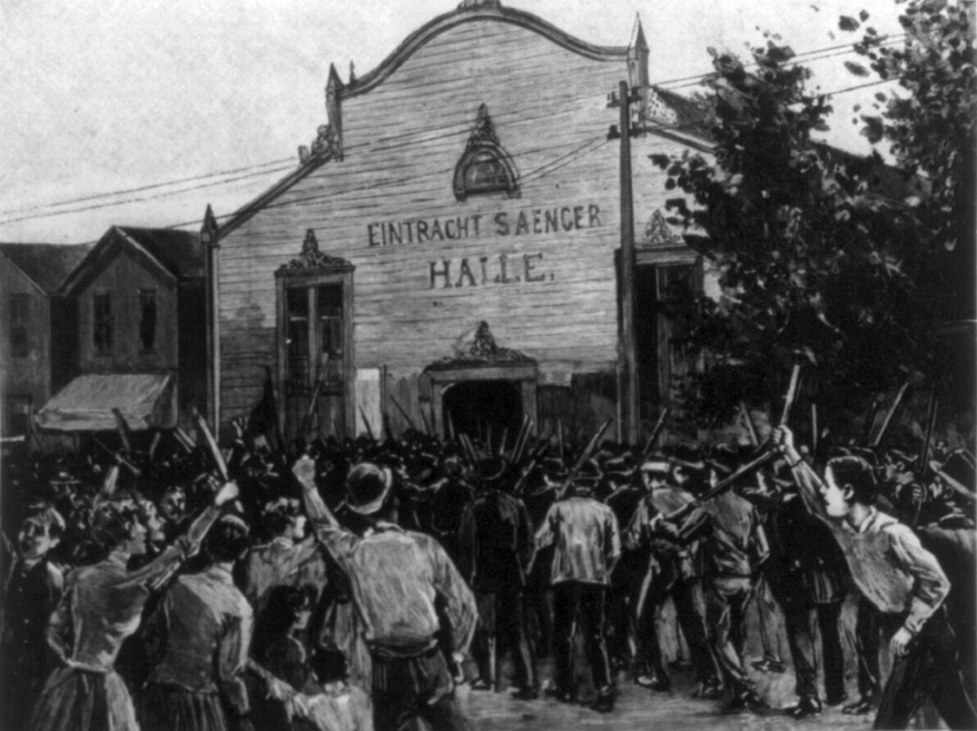 Mob attacking Pinkertons at the Homestead Strike