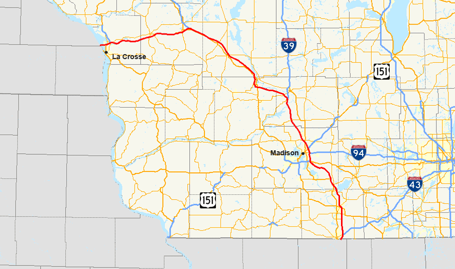 Interstate In Wisconsin Wikipedia - Wisconsin road map usa
