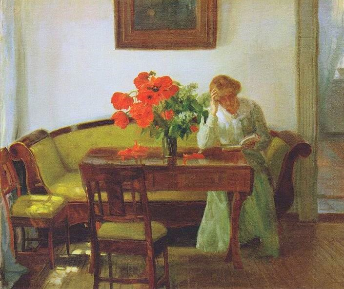 Interior with poppies and reading woman (Lizzy Hohlenberg) 905