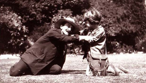 J. M. Barrie playing Neverland with Michael Llewelyn Davies