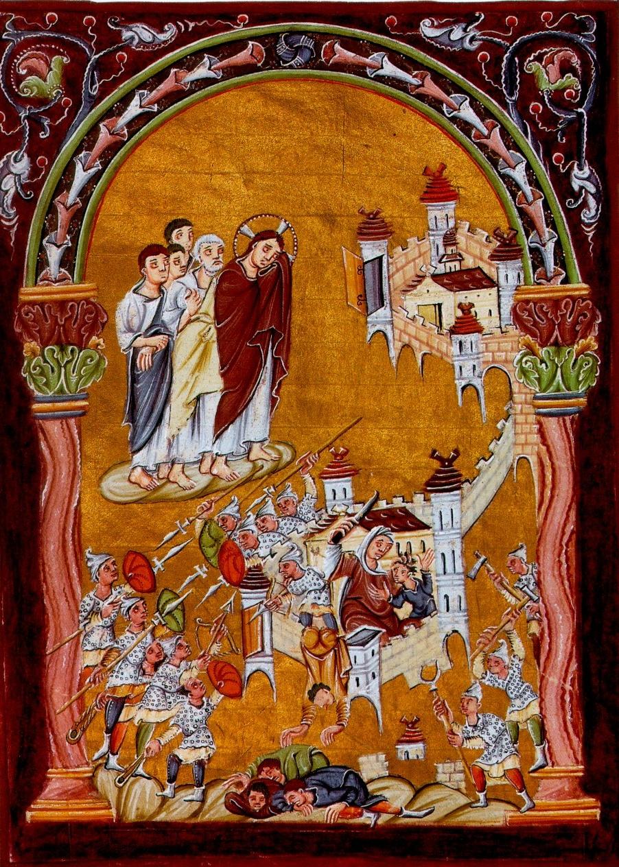 Oben: Jerusalem mit offenen Toren. Unten: Jerusalem wird von Heiden belagert und erobert, von Jesus beweint. Aus dem Evangeliar Ottos III. um 1000