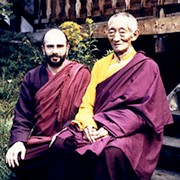 Kalu Rinpoche (right) and Lama Denys at Karma Ling Institute, Savoy