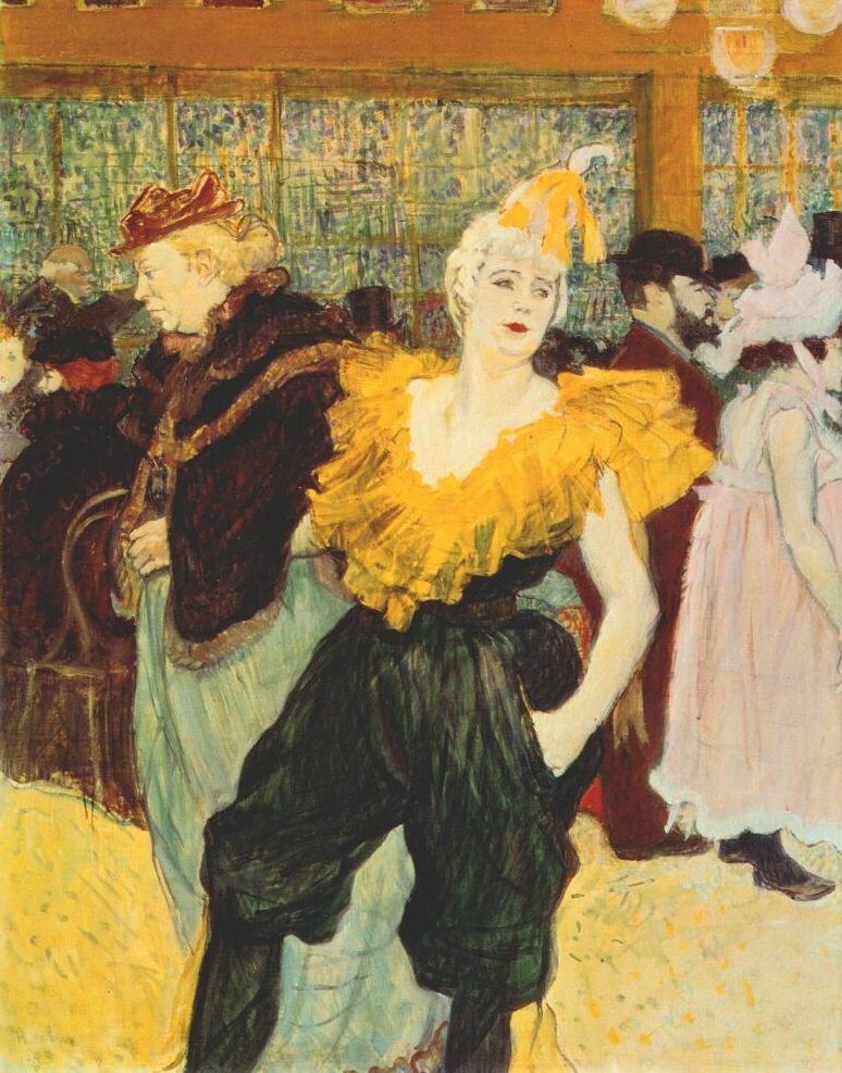 http://commons.wikipedia.org/wiki/File:Lautrec_the_clownesse_cha-u-kao_at_the_moulin_rouge_1895.jpg