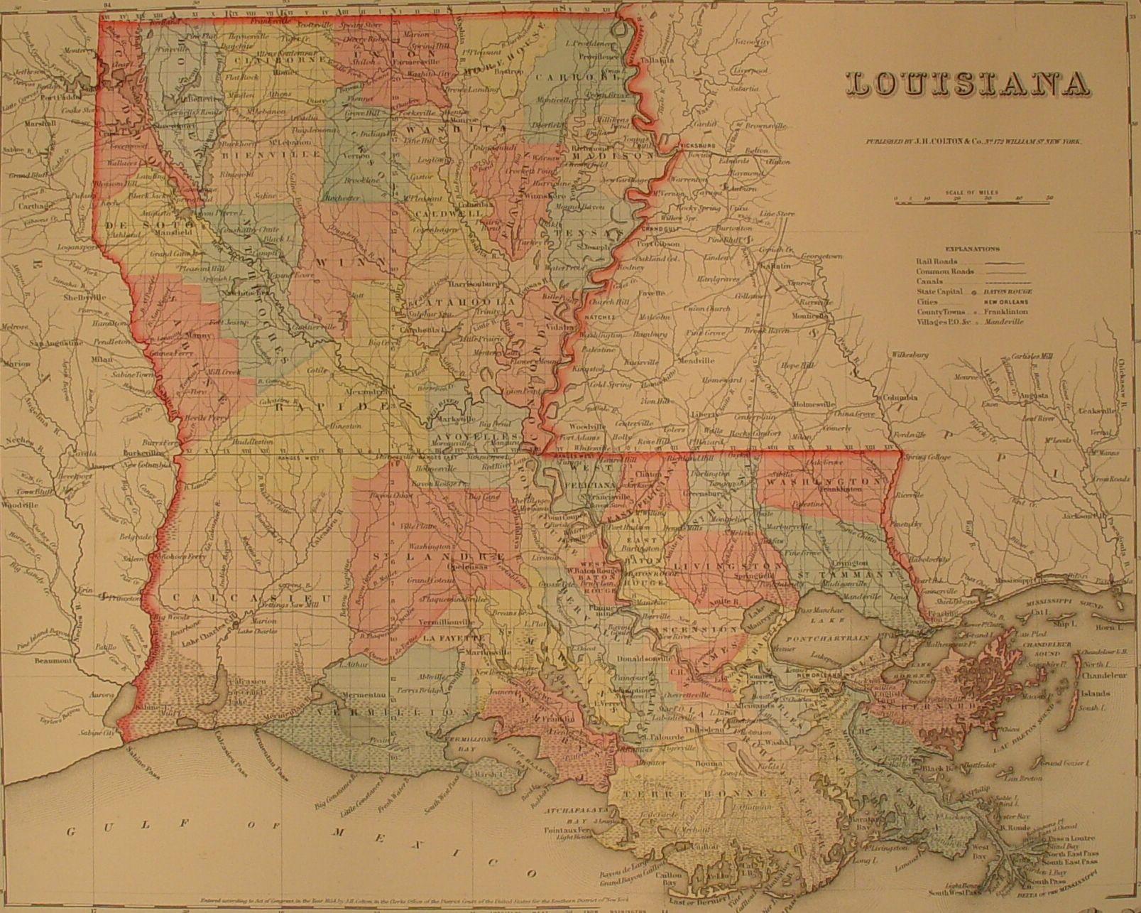 FileLouisiana map Colton 1856jpg Wikimedia Commons