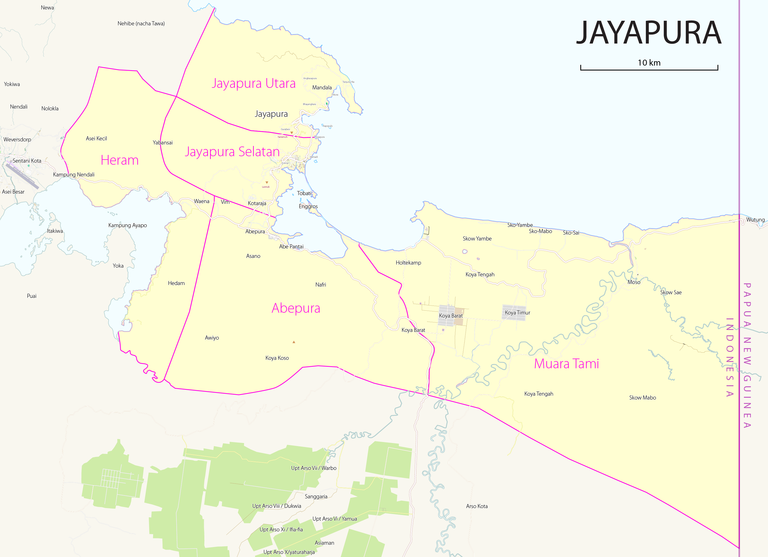 Berkas Map Districts Kecamatan Of Jayapura Png Wikipedia Bahasa Indonesia Ensiklopedia Bebas