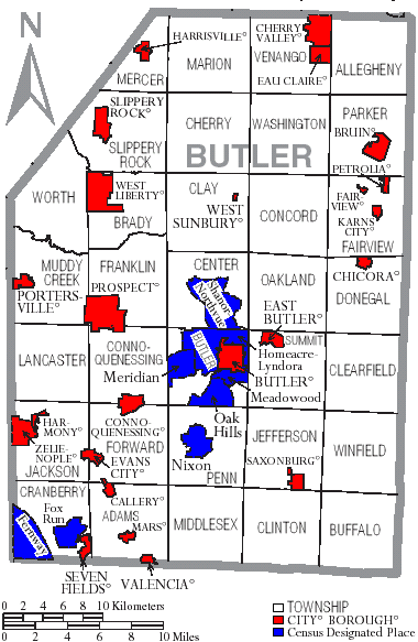 FileMap Of Butler County Pennsylvania With Municipal And Township - Map of cities in pa
