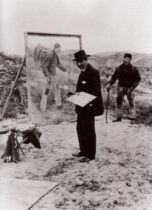 Max Liebermann vor dem Gemälde Schreitender Bauer 1894.jpg