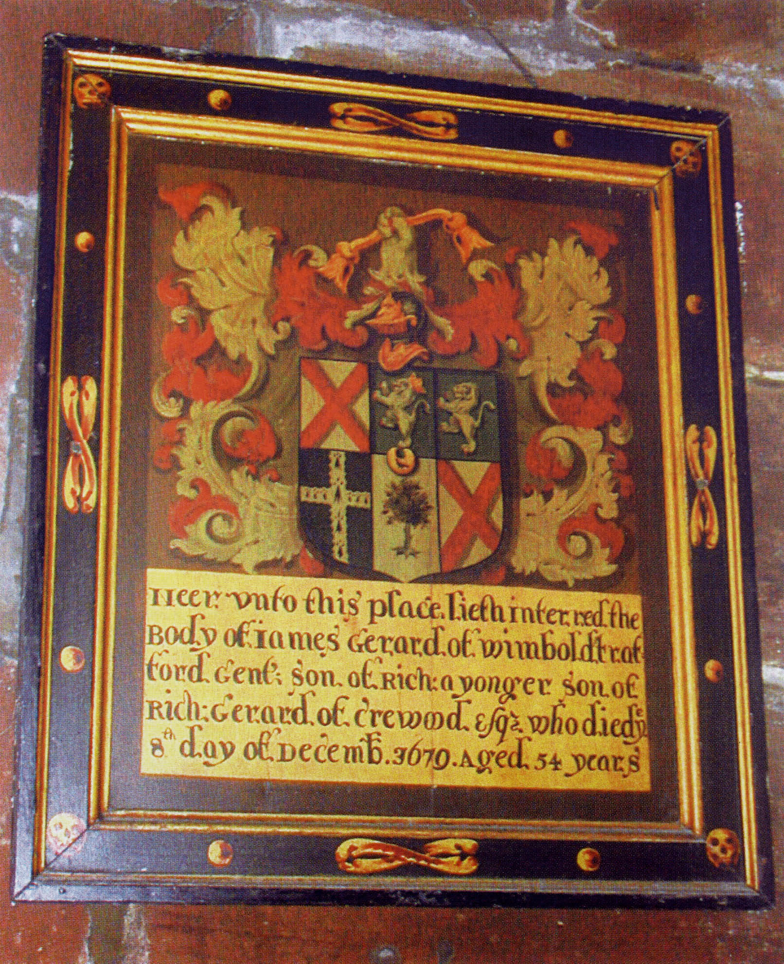 Memorial board in [[St Mary's Church, Thornton-le-Moors