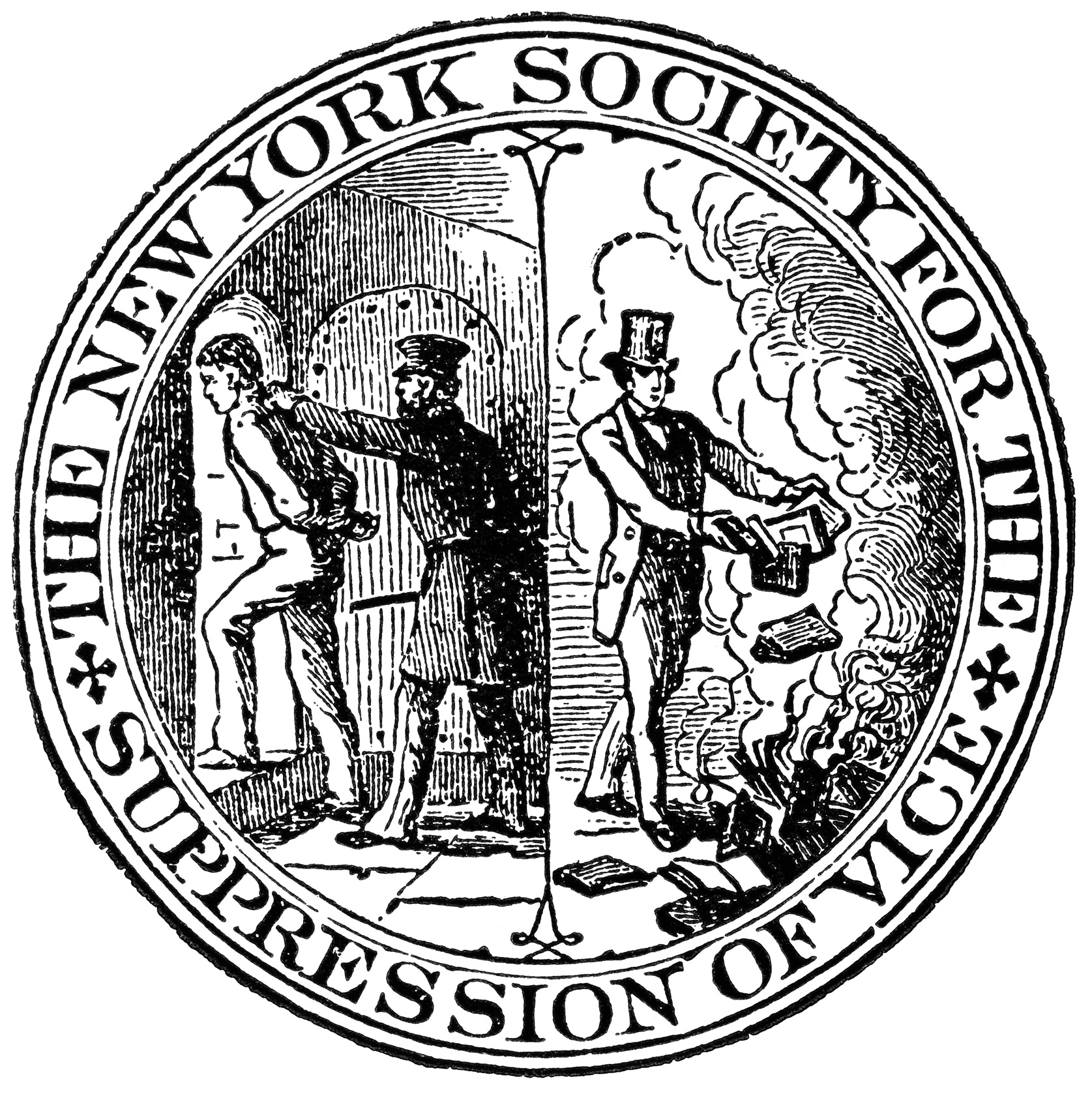 "Symbol of the ""New York Society for the Suppression of Vice"", advocating book-burning."